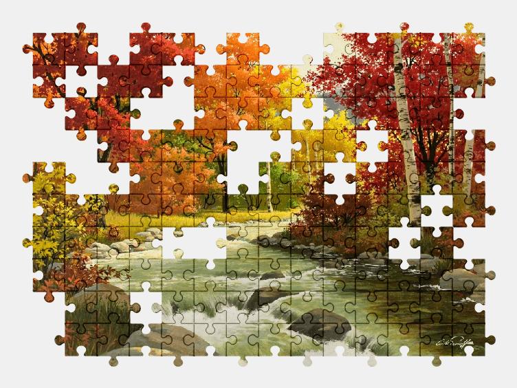 Пазлы Онлайн Осенний Пейзаж, Живопись, Река