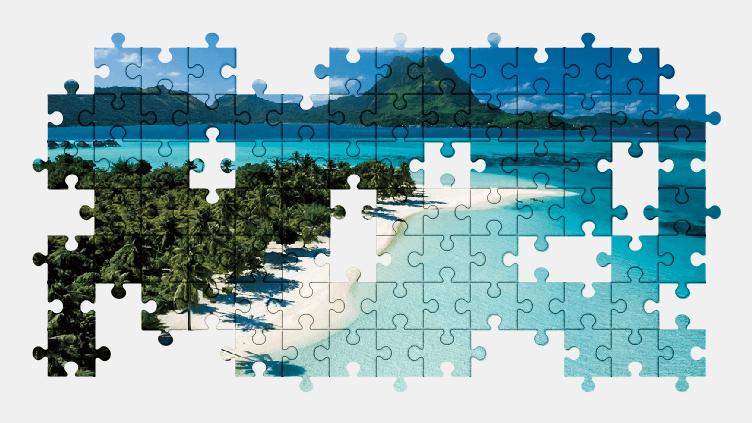 Пазлы Онлайн Пляж, Пальмы, Курорт, Тропики, Остров