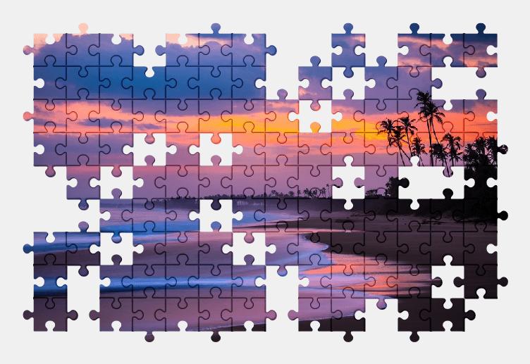 Пазлы Онлайн Пляж, Пальмы, Песок, Небо, Закат