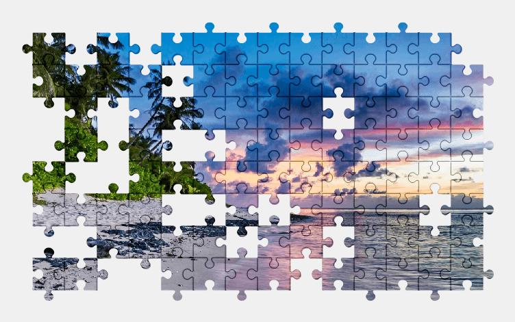 Пазлы Онлайн Тропики, Пляж, Песок, Пальмы