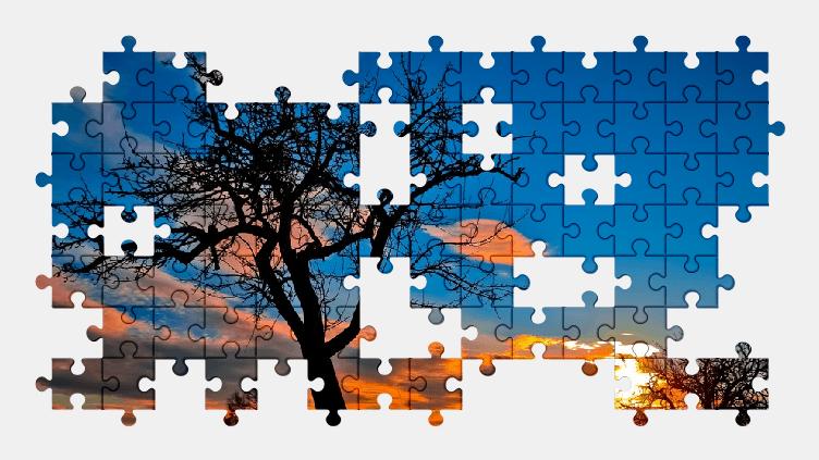 Пазлы Онлайн Облака, Закат, Вечер