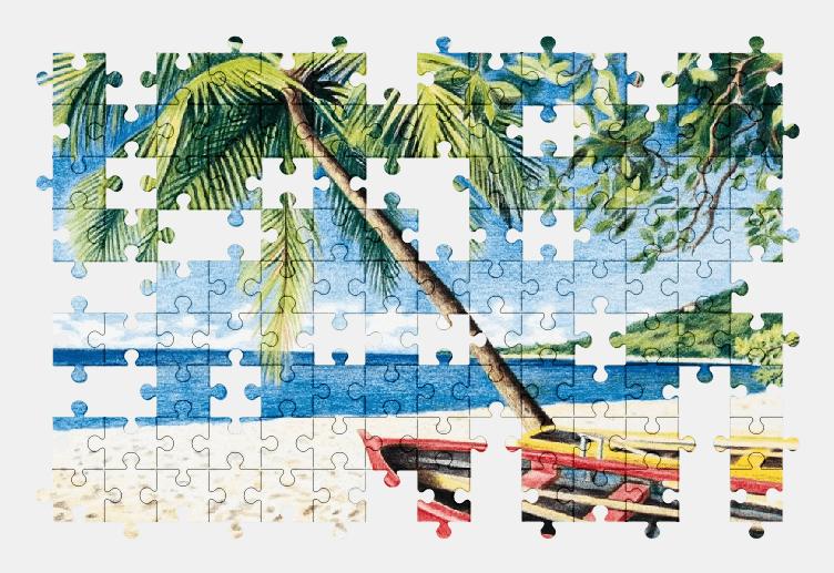 Пазлы Онлайн Пляж, Пальма, Лодки