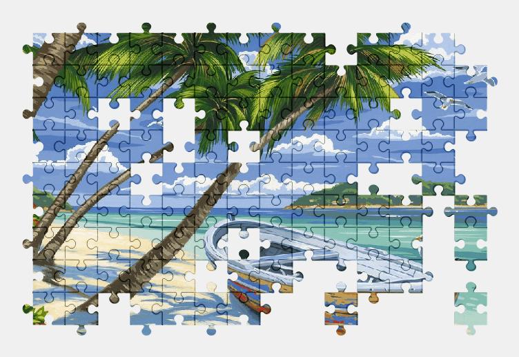 Пазлы Онлайн Лодка, Пляж, Пальмы