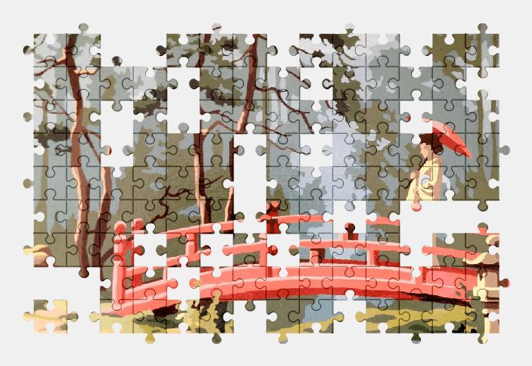 Пазлы Онлайн Мост, Девушка, Зонтик