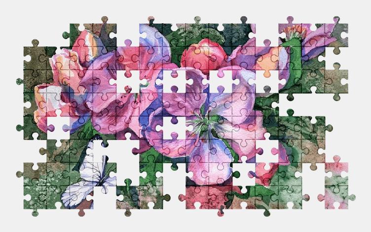 Пазлы Онлайн Бабочка и Цветы